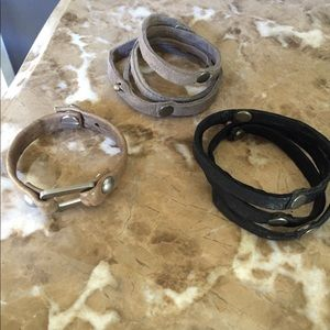Lesa Wallace leather bracelets! Set of three!